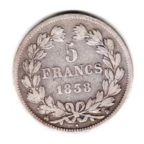 Moneda Francia Plata Año 1838 B Rey Luis Felipe I Muy Buena