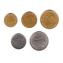 Francia Lote Serie 5 Monedas Diferentes Centimes Y Francos