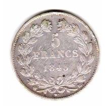 Moneda Francia Plata Año 1845 Bb Rey Luis Felipe I Muy Buena