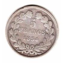 Moneda Francia Plata Año 1834 W Rey Luis Felipe I Muy Buena