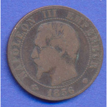 Francia 10 Centimes 1856 Ma * Napoleon Iii * Enorme *