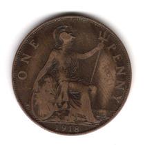 Moneda Inglaterra Gran Bretaña 1 Penny 1918 Km#810 Cobre