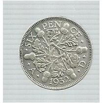 Inglaterra 6 Pence 1932 Plata