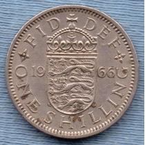 Inglaterra 1 Shilling 1966 * Escudo Ingles * Elizabeth Ii *