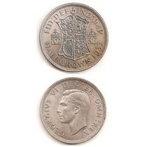 Moneda Inglaterra 1/2 Corona Crown 1937 De Plata