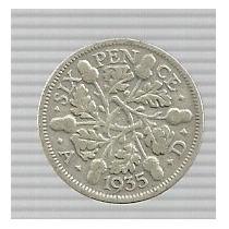 Inglaterra 6 Pence 1935 Plata