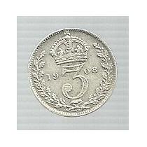 Inglaterra 3 Pence 1908 Plata