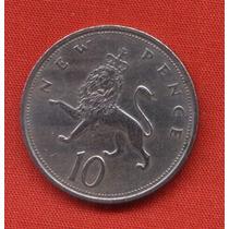 Moneda Reina Elizabeth Uk New Pence 10 1968 Mb Estado