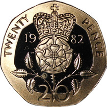 Gran Bretaña: Hermosa Moneda 20 Pence 1982 Sin Circular!!!!