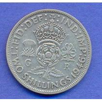Inglaterra 2 Shilling 1946 Plata * George Vi *