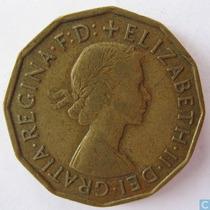 Inglaterra 6 Pence 1954 * Plata * Elizabeth Ii *