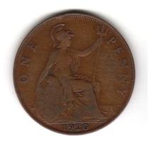 Moneda Inglaterra Gran Bretaña 1 Penny 1920 Km#810 Cobre