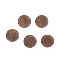 Lote De 5 Monedas Antiguas Inglesas Cobre