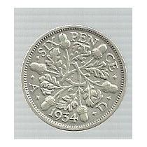 Inglaterra 6 Pence 1934 Plata