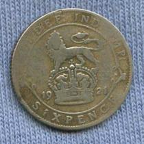 Inglaterra 6 Pence 1921 * Plata * George V *