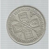 Inglaterra 1 Florin 1928 Plata