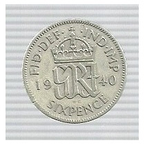 Inglaterra 6 Pence 1940 Plata