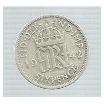 Inglaterra 6 Pence 1942 Plata