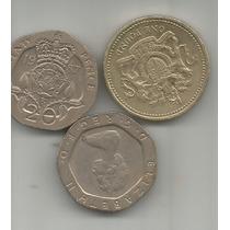 Gran Bretaña Lote De 3 Monedas Una Libra Y 20 Pence