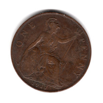 Moneda Inglaterra Gran Bretaña 1 Penny 1917 Km#810 Cobre