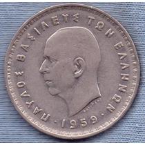 Reino De Grecia 10 Drachmai 1959 * Paul I * Enorme *