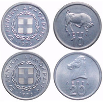 Grecia: 10 Y 20 Lepta 1976 (unc)