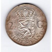 Holanda 2 1/2 Gulden De Plata Año 1959