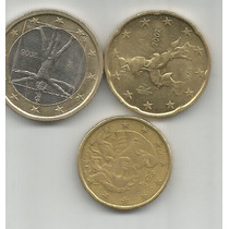 Italia Lote De 3 Monedas De Euro Una Bimetalica