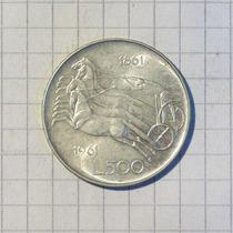 Italia 500 Liras Plata 1961 Excelente 10 Gr