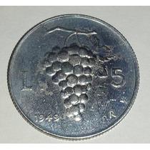 Moneda Italia 5 Liras Aluminio 1949