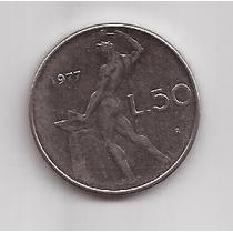Italia Moneda De 50 Liras Año 1977 !!!