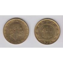 Italia, Moneda De 200 Liras De Bronce, 1979