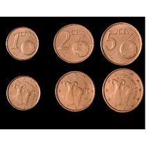 Chipre Set De 1 2 5 Cent Euro Sin Circular De Rollo Año 2009