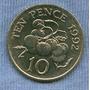 Guernsey 10 Pence 1992 * Planta De Tomate * Sin Circular *