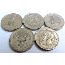 Lote Gran Bretaña 5 Monedas De 1 Libra Año 1987/90/91/94