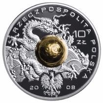 Polonia Moneda De Plata Solida Con Balon De Oro. Pekin 2008