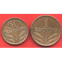 Portugal Serie 2 Monedas 50 Cent Y 1 Escudo 1975 - Ls837
