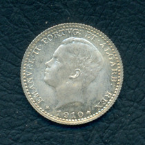 Moneda Portugal 1910 100 Reis Km#548 (plata)
