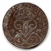 Suecia 2ª Guerra Mundial Moneda De Hierro De 5 Ore Año 1949