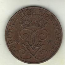 Suecia Moneda De 5 Ore Año 1937 Km 779.2 - Excelente+