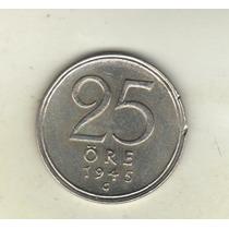 Suecia Moneda 25 Ore De Plata Año 1945 G Km 816 - Xf