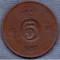 Suecia 5 Ore 1956 * Reino De Gustaf Adolf Vi *