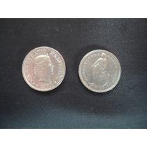 Dos Monedas Suiza De 10 Rappen Y 1/2 Franco Año 1974