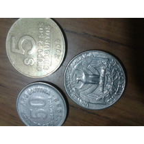 3 Moneda Antigua .monedas Dolar Eeuu Uruguaya Y Argentina