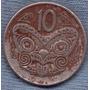 Nueva Zelanda 10 Cents 1978 * Mascara Maori Koruru *