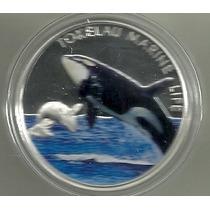 Moneda Tokelau Plata Año 2012 Orca Color Proof Certificado