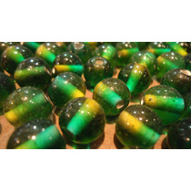 Cuentas Vidrio Esferas Degradé Verde/amarillo Bijou 50 Unid