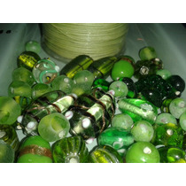 Bobina Hilo Verde+cuentas Vidrio Bijou Mix De Verde 1/2 Kilo
