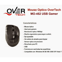 Mouse Overtech Mo 452 Usb Gamer 1600dpi Ramos Mejia