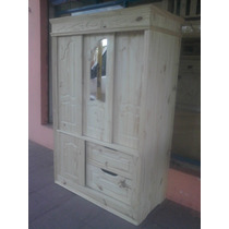 Muebles De Pino Ropero 1.20 Mt Ancho Con Espejo Y 2 Estantes